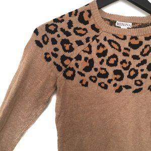 Merona Cheetah Print Long Sleeve Sweater XS
